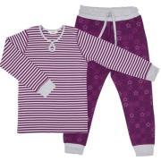 Pyjamas fra Joha - Striber og Stjerner - Bordeaux / grå