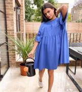 ASOS DESIGN Petite - Oversized smock-kjole i blå med flæseærmer