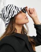 ASOS DESIGN - Bøllehat i kanvas med zebraprint-Multifarvet
