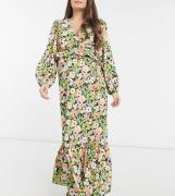 ASOS DESIGN Maternity - Blomstret maxikjole med slå-om-Multifarvet