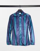 ASOS DESIGN - Velourskjorte i smal pasform med stræk og feststriber-Marineblå