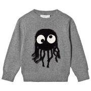 Stella McCartney Kids Grey Sweater with Spider Appliqué 2 years