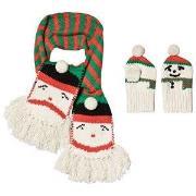Stella McCartney Kids Snowman Halstørklæde og Vanter Sæt i Rød/Grøn S (4-5 years)