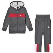 adidas Performance Logo Hoodie and Sweatpants Set Grey/Red 4-5 years (110 cm)