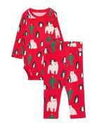 Set Body Leggings Funny Xmas Pyjamassæt Rød Lindex